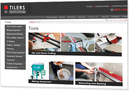 Karen Shear Web Design - Website redesign and logo for Tilers Online - Tiling tool specialists